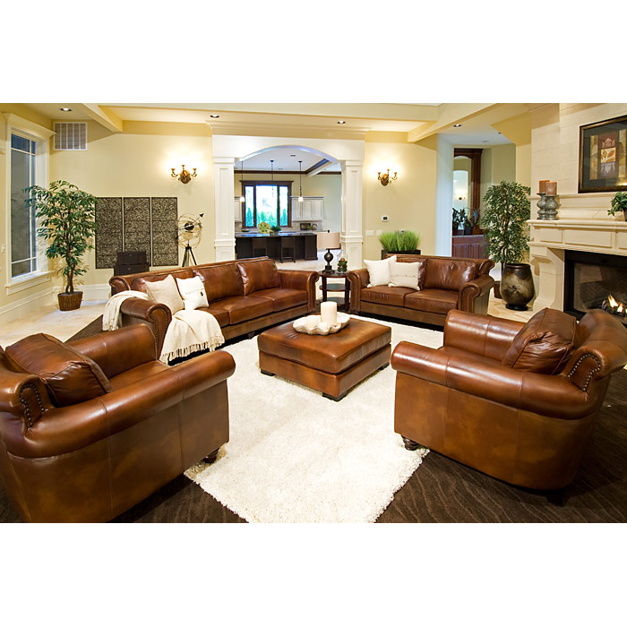 ... Paladia Leather Sofa In Rustic Brown   ELE PAL S RUST 1