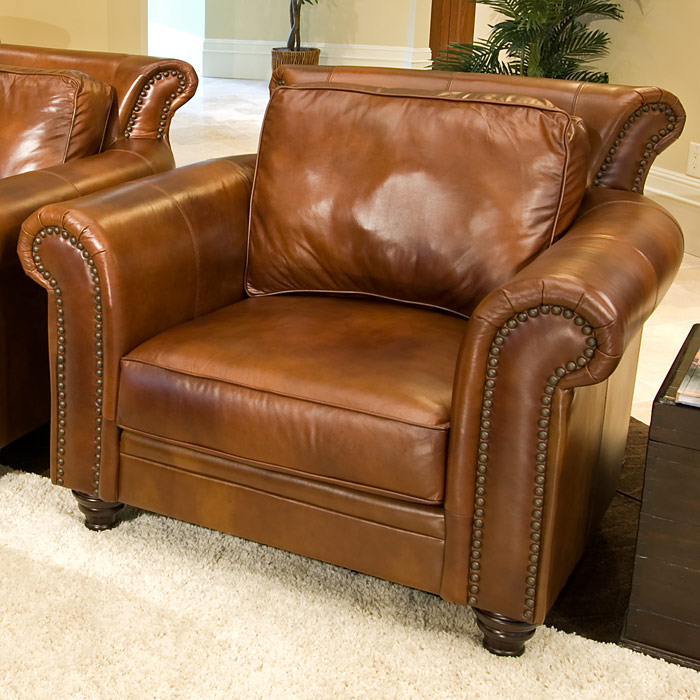 A Glass And Gold Bar Cart Brown Leather Armchair And: Paladia Leather Club Chair In Rustic Brown