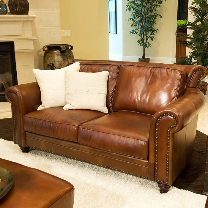 ... Paladia 4 Piece Leather Sofa Set In Rustic Brown   ELE PAL 4PC  ...