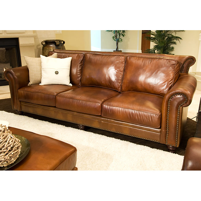 Superbe Paladia Leather Sofa In Rustic Brown   ELE PAL S RUST 1 ...