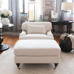 Saint Tropez 2 Pieces Fabric Standard Chair and Standard Ottoman - Seashell