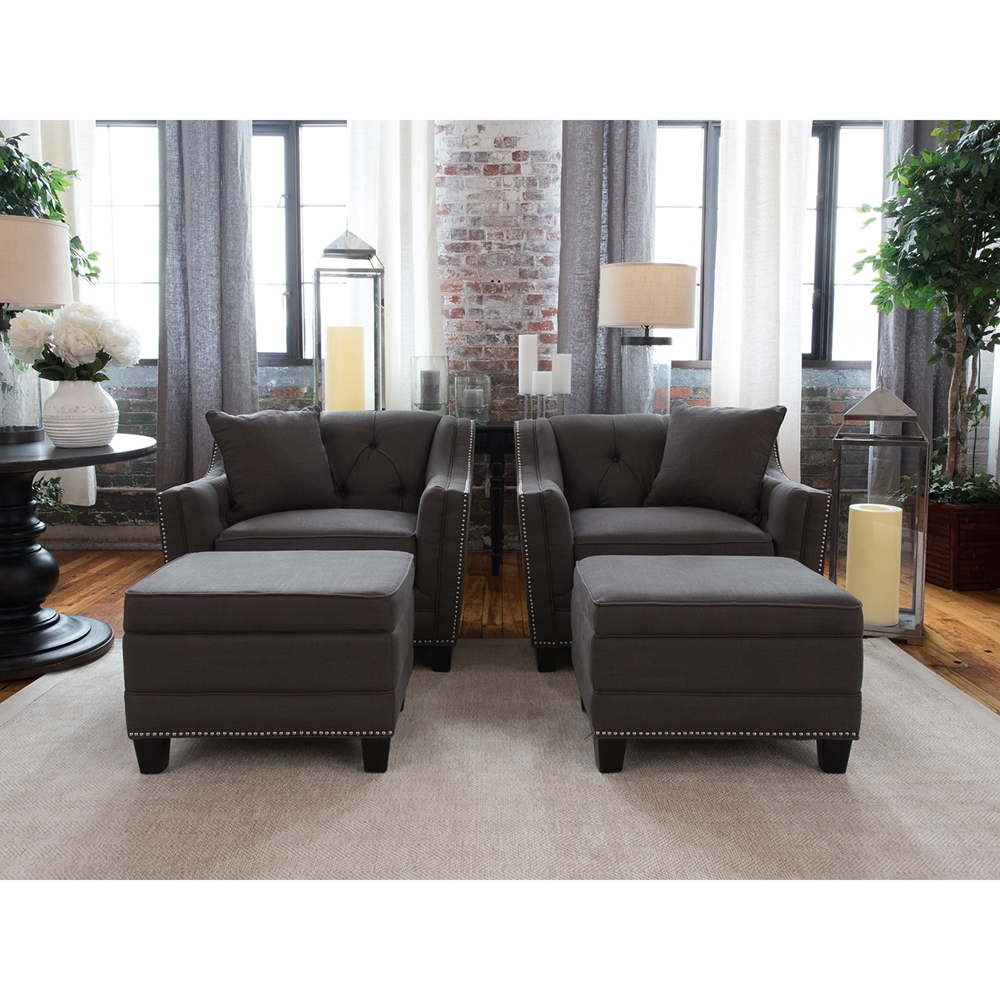 Santa Monica 4 Pieces Fabric Chairs And Storage Ottomans Beachwood Dcg Stores