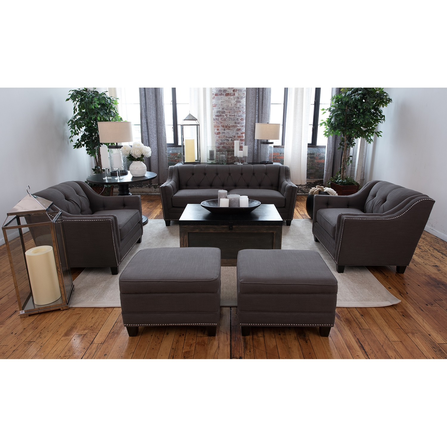 Santa Monica 5 Pieces Fabric Sofa Set - Beachwood - ELE-SAN-5PC-S-SC-SC-STO-STO-BEAC-7