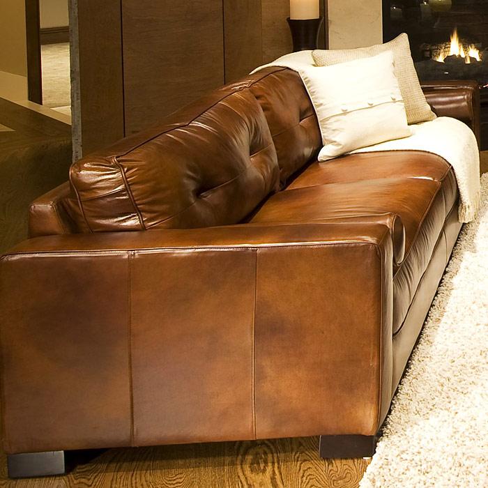 Soho 3 Piece Rustic Brown Leather Sofa Set W Oversized