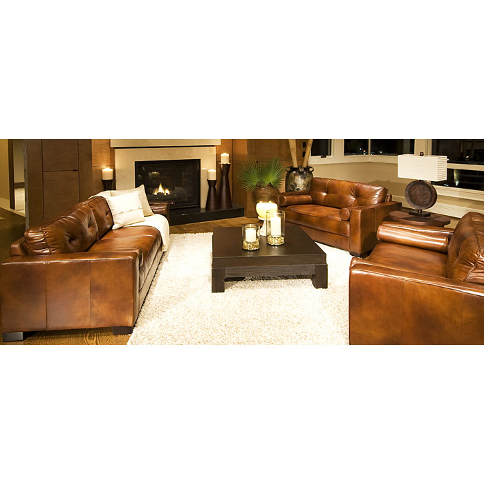 A Glass And Gold Bar Cart Brown Leather Armchair And: Soho 3 Piece Rustic Brown Leather Sofa Set W/ Oversized