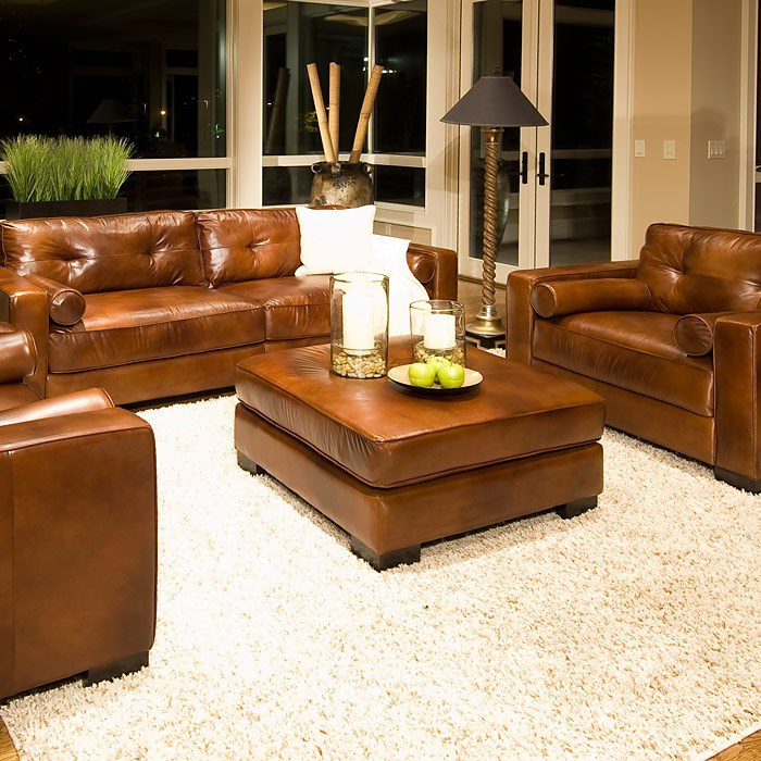 Soho Rustic Brown Leather Sofa And Chairs Set Dcg Stores
