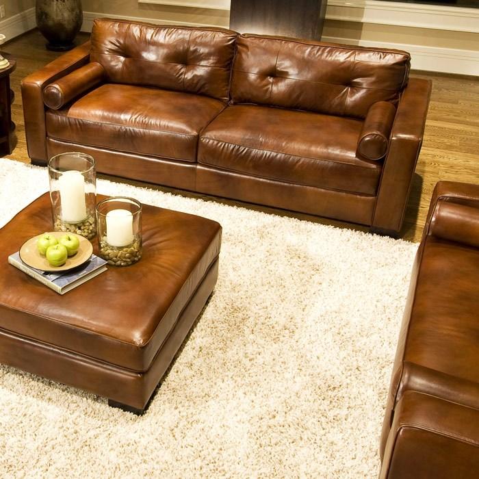 Soho 4 Piece Rustic Brown Leather Sofa Set W Oversized