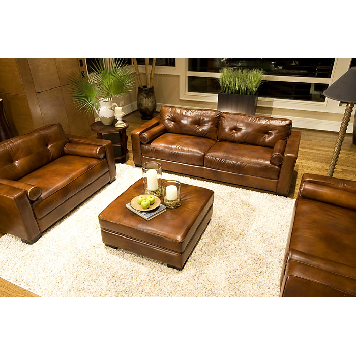 Soho rustic brown leather oversized club chairs set dcg stores for Oversized leather living room furniture