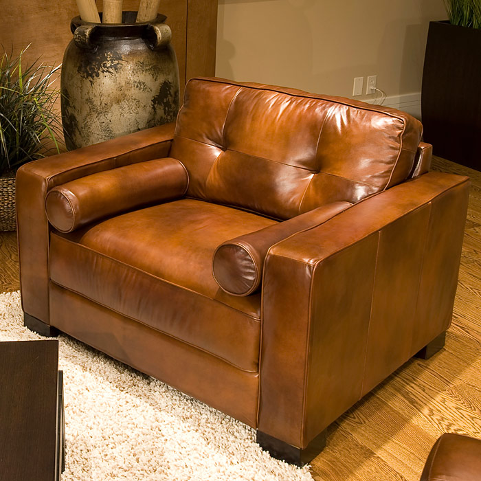 A Glass And Gold Bar Cart Brown Leather Armchair And: Soho Top Grain Leather Club Chair In Rustic Brown
