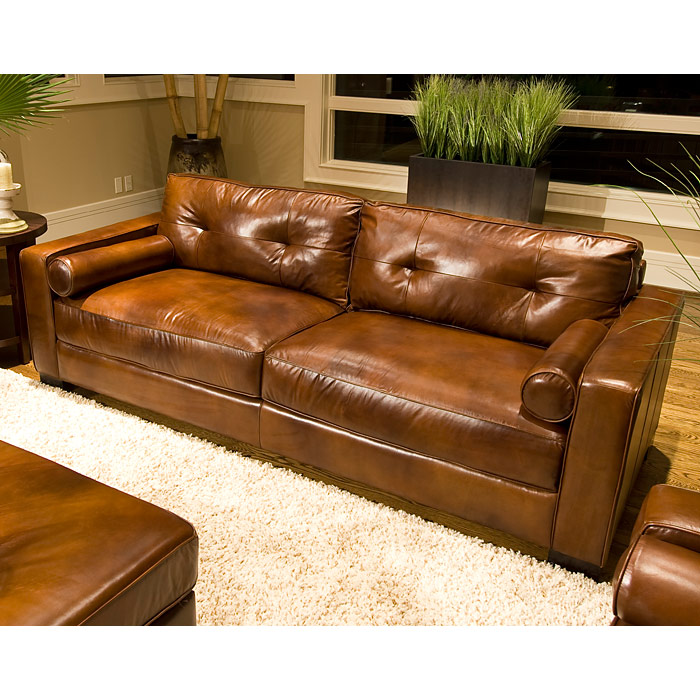 Soho Top Grain Leather Sofa In Rustic Brown   ELE SOH S RUST ...