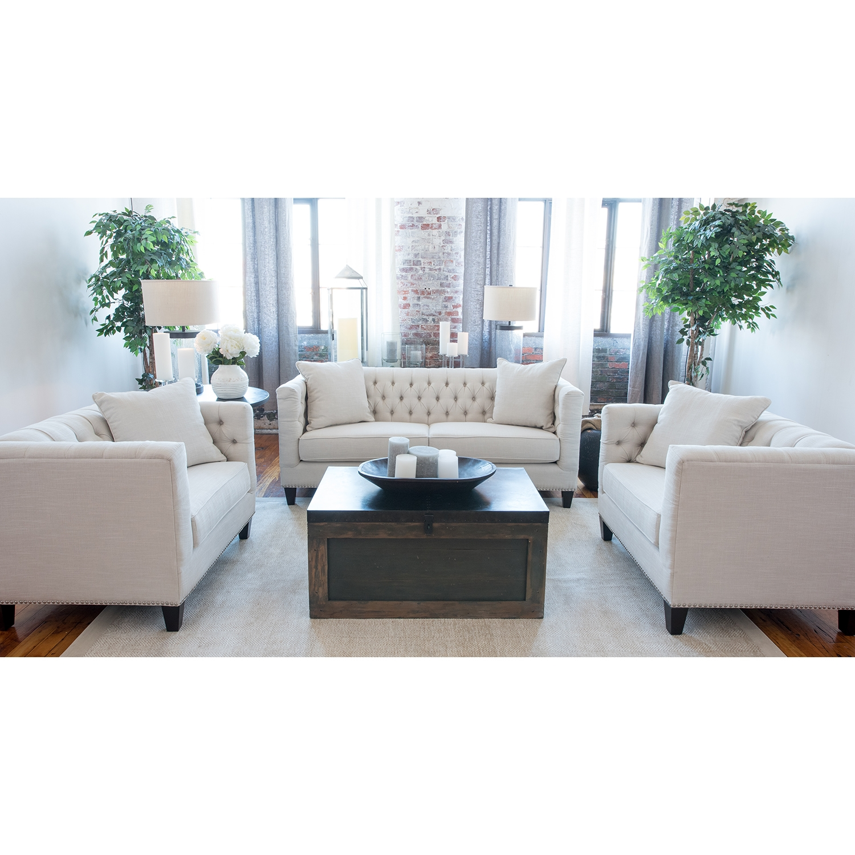 Merveilleux South Beach 3 Pieces Fabric Sofa Set   Seashell, Nailhead Trim | DCG Stores