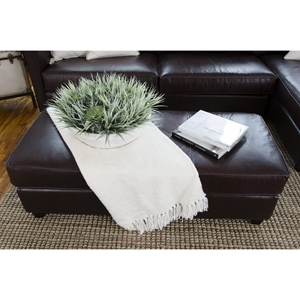 Urban Top Grain Leather Rectangle Cocktail Ottoman - Cappuccino