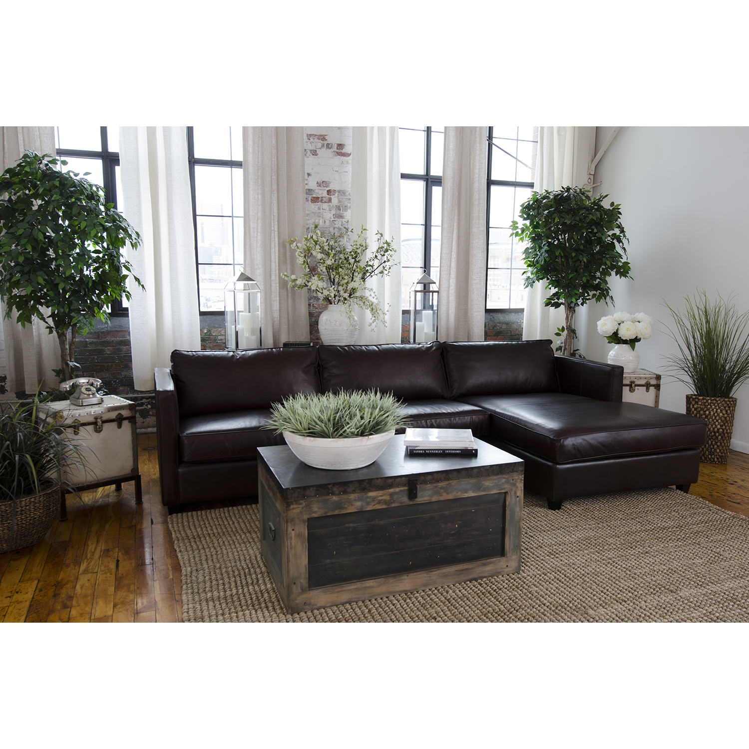 Urban 4-Piece Sectional Set - Right Arm Facing Chaise, Rectangle Ottoman - ELE-URB-4PC-LAFL-RAFC-SC-SC-RCO-CAPP-1