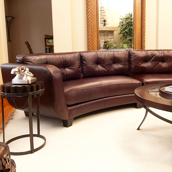 Vittorio Mahogany Top Grain Leather Curved Sectional | DCG ...