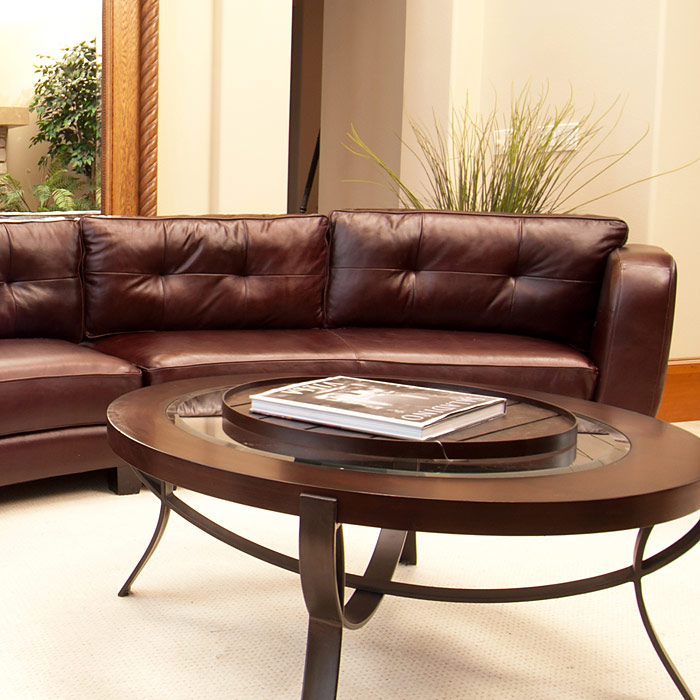 Curved Sofa Sectional Leather: Vittorio Mahogany Top Grain Leather Curved Sectional
