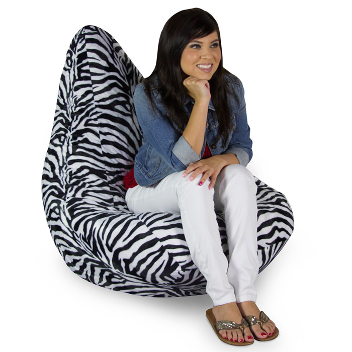 Zebra Print Plush Bean Bag Chair - EL-30-1041-12787