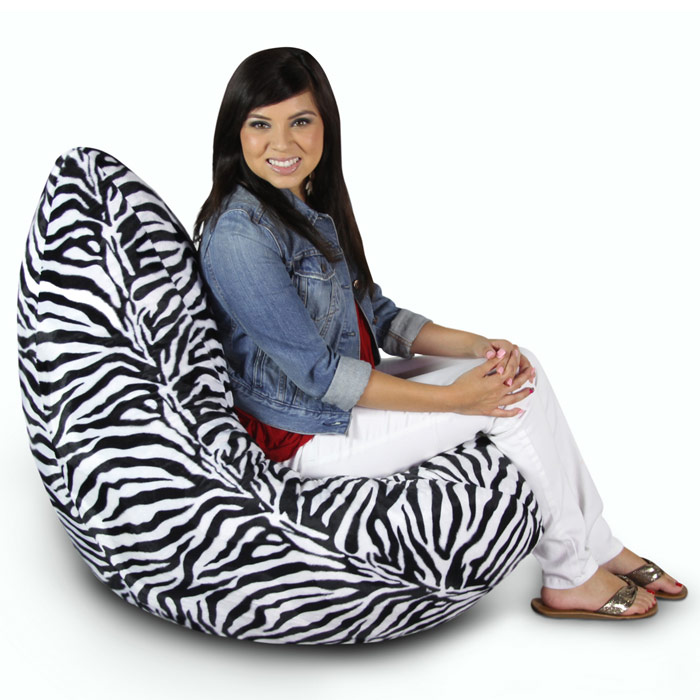 Zebra Print Plush Bean Bag Chair El 30 1041 12787