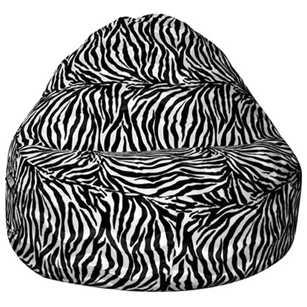 Sitsational 2 Seater Bean Bag Chair Zebra Print Velvet El 32