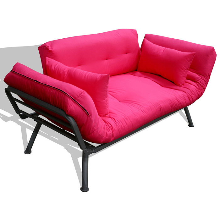 Mali Flex Solid Series Futon Combo Hot Pink Pewter Frame El 55