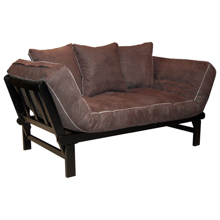 hudson metal convertible futon set chocolate suede dcg stores. Black Bedroom Furniture Sets. Home Design Ideas