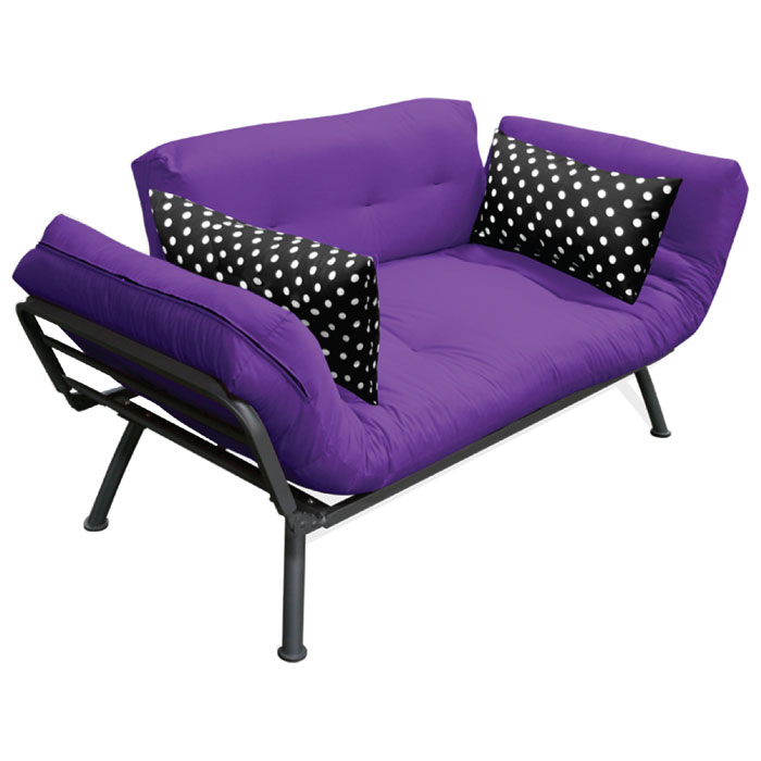 Mali Flex Futon Set Combo Purple With Black White Polka Dot Print Side Pillows Dcg S