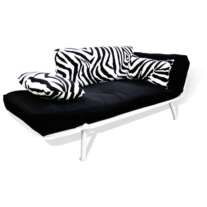 Mali Flex White Frame Futon Set Combo Black Zebra Print DCG