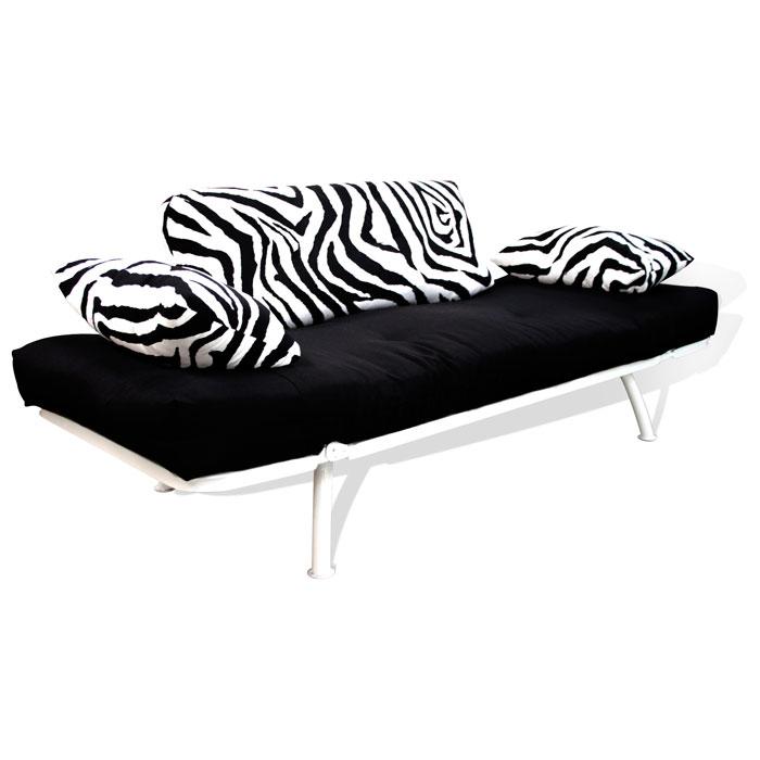 Mali Flex White Frame Futon Set Combo Black Zebra Print El 55
