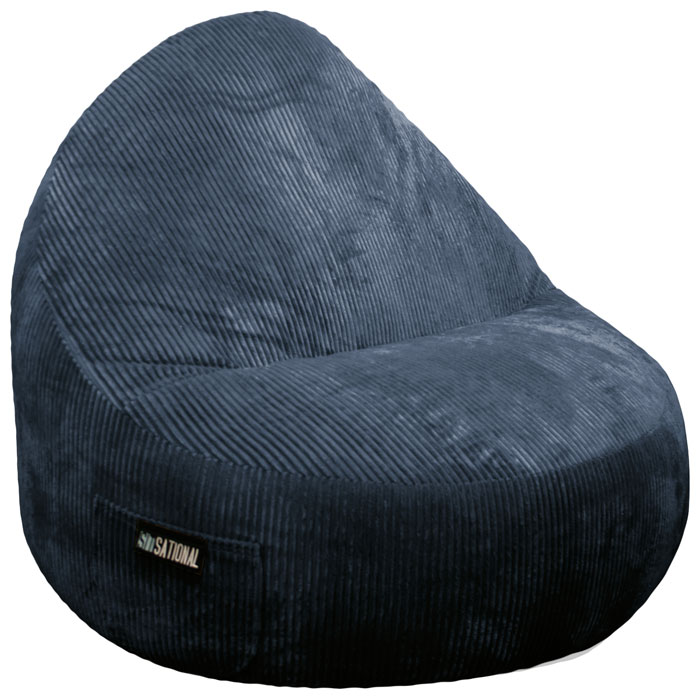 Superieur Sitsational 2 Seater Midnight Corduroy Foam Bean Bag Chair   EL 32 6502 ...