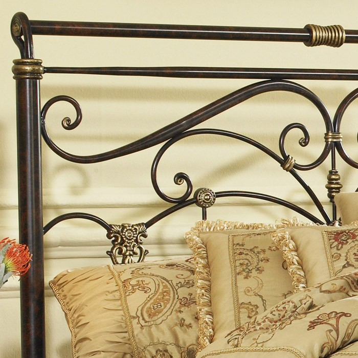 Lucinda Sleigh Metal Headboard in Marbled Russet Finish - FBG-B1283