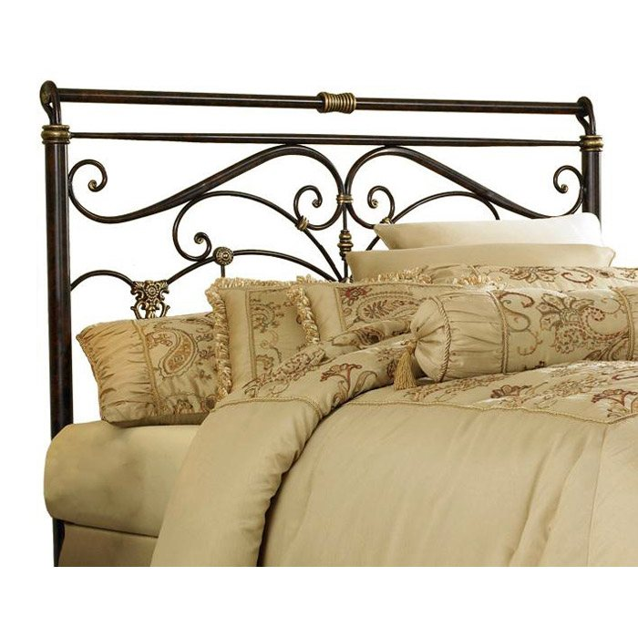Lucinda Sleigh Metal Headboard in Marbled Russet Finish
