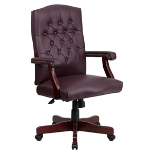 Martha Washington Executive Swivel Office Chair - Bonded Leather, Burgundy