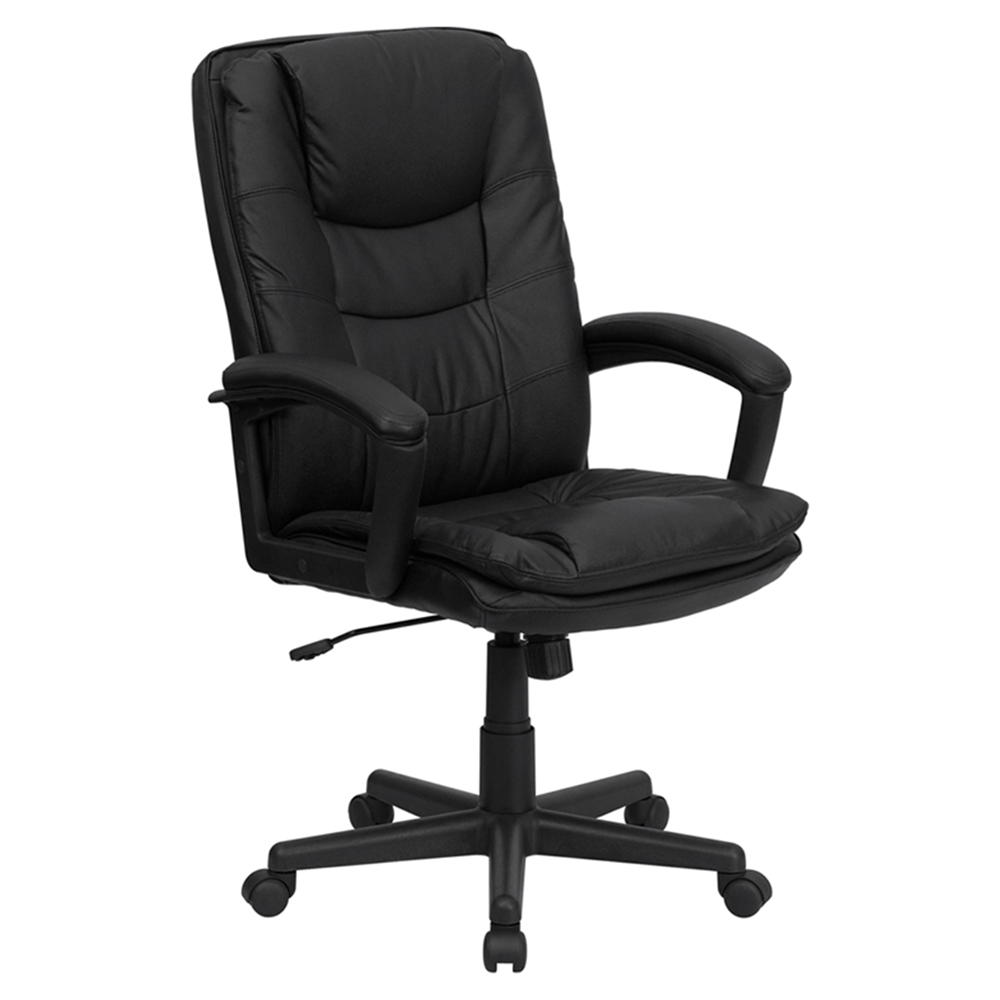 Leather Executive Swivel Office Chair High Back Black Dcg Stores