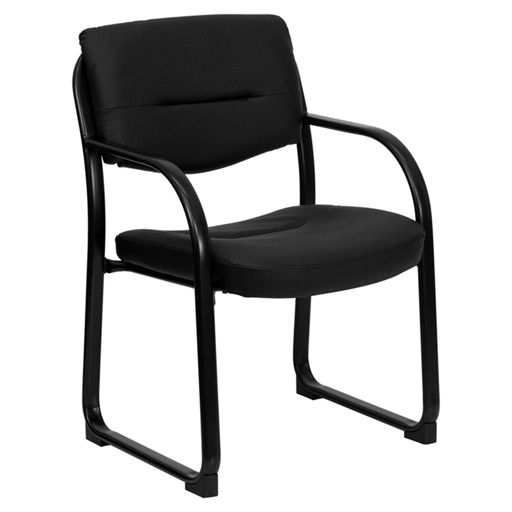 Leather Executive Chair Sled Base Black Dcg Stores