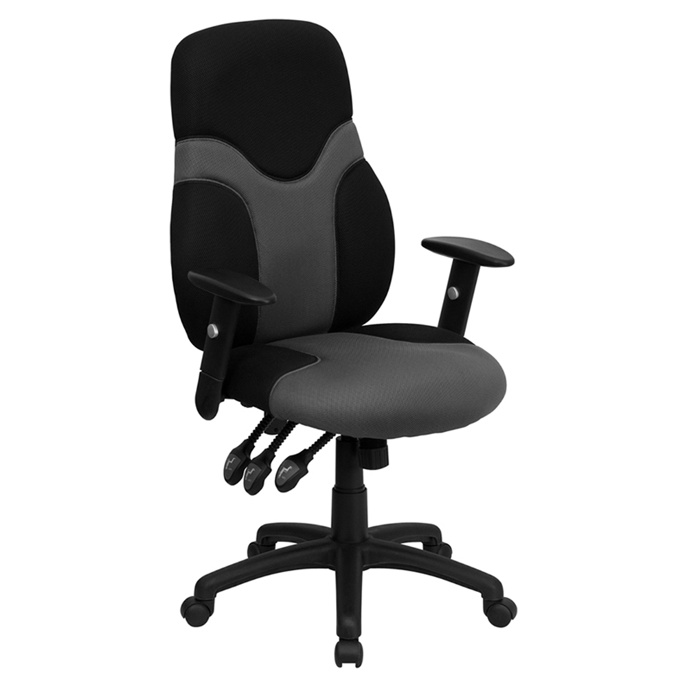 Mesh Swivel Task Chair High Back Adjustable Black And Gray Dcg Stores