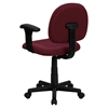 Fabric Swivel Task Chair - Low Back, Adjustable Arms, Burgundy - FLSH-BT-660-1-BY-GG