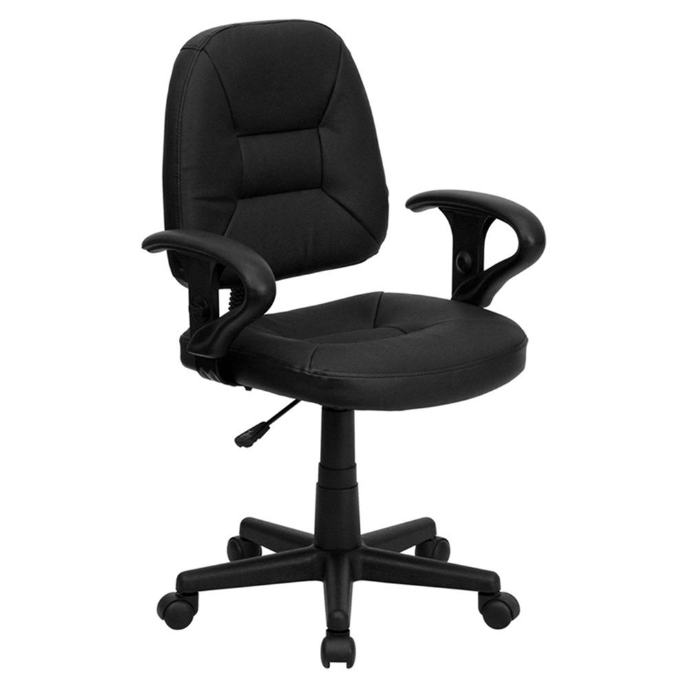 Leather Swivel Task Chair Mid Back Adjustable Arms Black Dcg Stores