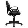 Leather Swivel Task Chair - Mid Back, Arms, Black - FLSH-BT-688-BK-A-GG
