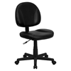 Leather Swivel Task Chair - Mid Back, Black - FLSH-BT-688-BK-GG