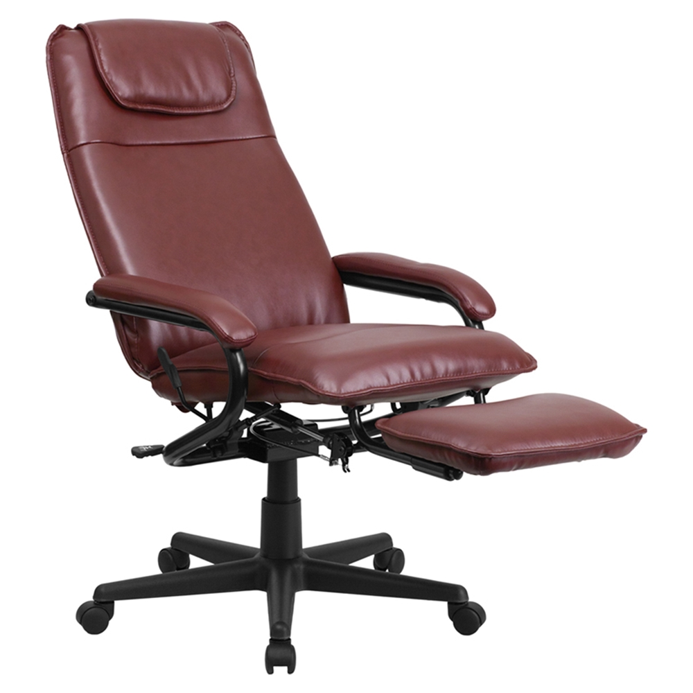 Leather Executive Reclining Swivel Office Chair High Back Burgundy Dcg Stores