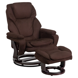 Microfiber Recliner and Ottoman - Swiveling Base, Brown