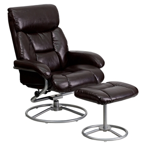 Leather Recliner and Ottoman - Pillow Top Headrest, Swivel Seat, Brown