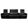 Anetos Series 4-Seat Theater Seating Unit - Recliner, Black - FLSH-BT-70273-4-BK-GG