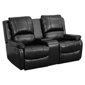 Allure Series 2-Seat Leather Recliner - Black, Cup Holders