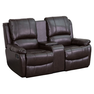 Allure Series 2-Seat Leather Recliner - Brown, Cup Holders