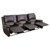 Allure Series 3-Seat Leather Recliner - Brown, Cup Holders - FLSH-BT-70295-3-BRN-GG