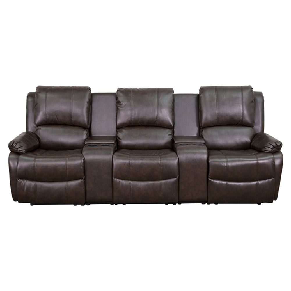 Allure Series 3 Seat Leather Recliner Brown Cup Holders Dcg Stores
