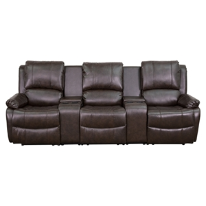 Allure Series 3-Seat Leather Recliner - Brown, Cup Holders