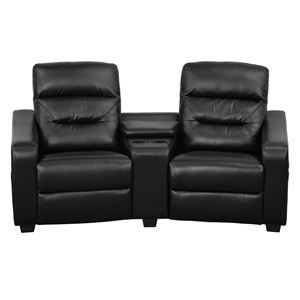 Futura Series 2-Seat Leather Theater Seating Unit - Recliner, Black