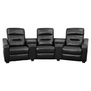 Futura Series 3-Seat Reclining Leather Theater Seating Unit - Black