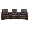 Futura Series 3-Seat Reclining Leather Theater Seating Unit - Brown - FLSH-BT-70380-3-BRN-GG